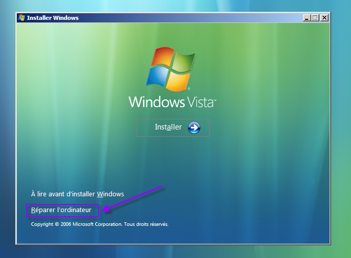 Reparer windows vista